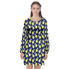 Square Flowers Navy Blue Long Sleeve Chiffon Shift Dress  by snowwhitegirl