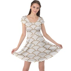 Gold,white,art Deco,vintage,shell Pattern,asian Pattern,elegant,chic,beautiful Cap Sleeve Dress