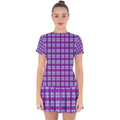 Purple Tartan Drop Hem Mini Chiffon Dress by jumpercat
