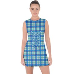 Sea Tartan Lace Up Front Bodycon Dress by jumpercat