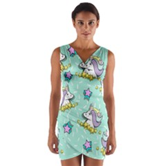Magical Happy Unicorn And Stars Wrap Front Bodycon Dress by allthingseveryday