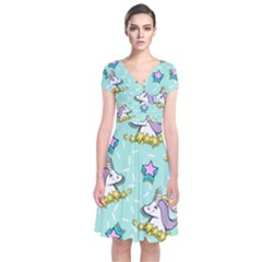 Magical Happy Unicorn And Stars Short Sleeve Front Wrap Dress by allthingseveryday
