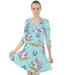 Magical Happy Unicorn And Stars Quarter Sleeve Front Wrap Dress	 by allthingseveryday