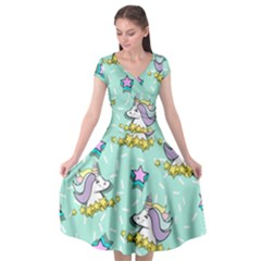 Magical Happy Unicorn And Stars Cap Sleeve Wrap Front Dress by allthingseveryday