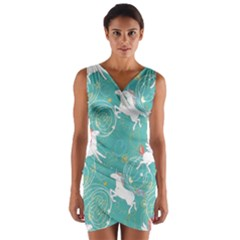 Magical Flying Unicorn Pattern Wrap Front Bodycon Dress by allthingseveryday