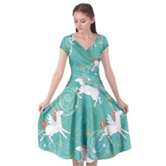 Magical Flying Unicorn Pattern Cap Sleeve Wrap Front Dress by allthingseveryday