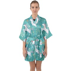 Magical Flying Unicorn Pattern Quarter Sleeve Kimono Robe by allthingseveryday