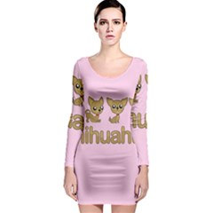 Chihuahua Long Sleeve Bodycon Dress by Valentinaart