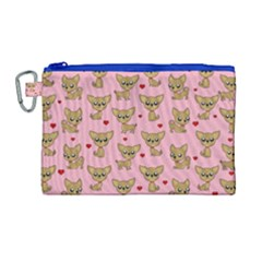 Chihuahua Pattern Canvas Cosmetic Bag (large) by Valentinaart