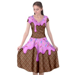 Chocolate And Strawberry Icecream Cap Sleeve Wrap Front Dress by jumpercat