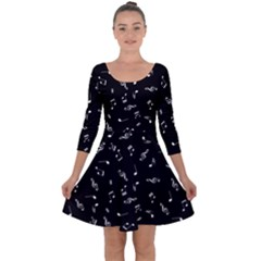 Music Tones Black Quarter Sleeve Skater Dress
