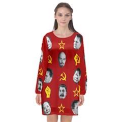 Communist Leaders Long Sleeve Chiffon Shift Dress  by Valentinaart