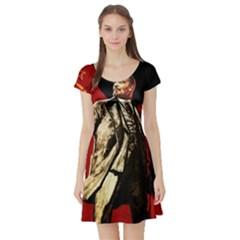 Lenin  Short Sleeve Skater Dress by Valentinaart