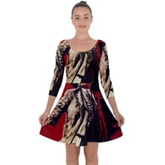 Lenin  Quarter Sleeve Skater Dress by Valentinaart