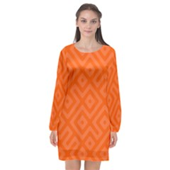 Seamless Pattern Design Tiling Long Sleeve Chiffon Shift Dress