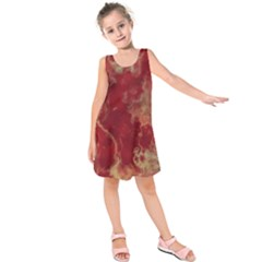 Marble Red Yellow Background Kids  Sleeveless Dress