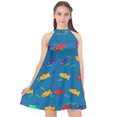 Fish Blue Background Pattern Texture Halter Neckline Chiffon Dress  by Nexatart