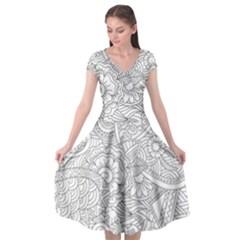 Ornament Vector Retro Cap Sleeve Wrap Front Dress