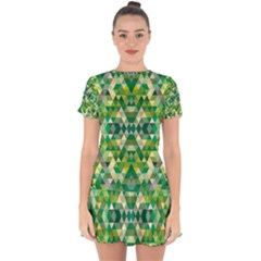 Forest Abstract Geometry Background Drop Hem Mini Chiffon Dress by Nexatart