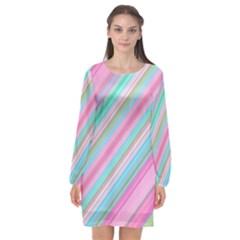 Background Texture Pattern Long Sleeve Chiffon Shift Dress