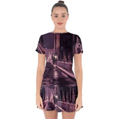 Texture Abstract Background City Drop Hem Mini Chiffon Dress