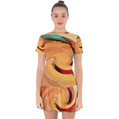 Spiral Abstract Colorful Edited Drop Hem Mini Chiffon Dress by Nexatart
