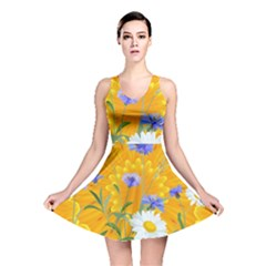 Flowers Daisy Floral Yellow Blue Reversible Skater Dress