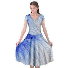 Feather Blue Colored Cap Sleeve Wrap Front Dress by Nexatart