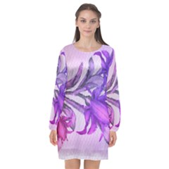 Flowers Flower Purple Flower Long Sleeve Chiffon Shift Dress  by Nexatart