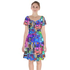 Background Art Abstract Watercolor Short Sleeve Bardot Dress