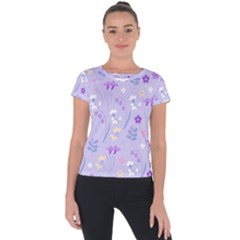 Violet,lavender,cute,floral,pink,purple,pattern,girly,modern,trendy Short Sleeve Sports Top  by 8fugoso