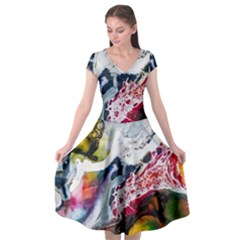 Abstract Art Detail Painting Cap Sleeve Wrap Front Dress by Nexatart