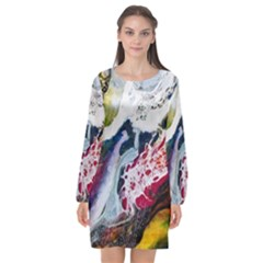 Abstract Art Detail Painting Long Sleeve Chiffon Shift Dress  by Nexatart