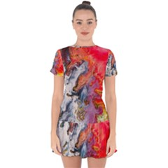Art Abstract Macro Drop Hem Mini Chiffon Dress