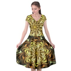 Fractal Flower Petals Gold Cap Sleeve Wrap Front Dress