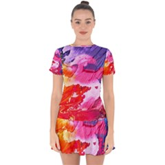 Abstract Art Background Paint Drop Hem Mini Chiffon Dress by Nexatart