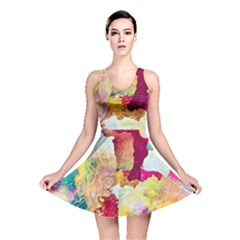 Art Detail Abstract Painting Wax Reversible Skater Dress