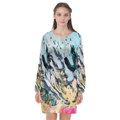 Abstract Structure Background Wax Long Sleeve Chiffon Shift Dress  by Nexatart