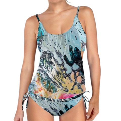 Abstract Structure Background Wax Tankini Set