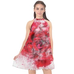 Flower Roses Heart Art Abstract Halter Neckline Chiffon Dress