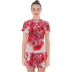 Flower Roses Heart Art Abstract Drop Hem Mini Chiffon Dress by Nexatart