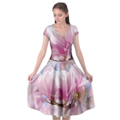 Flowers Magnolia Art Abstract Cap Sleeve Wrap Front Dress