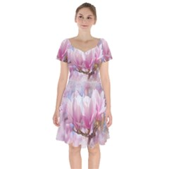 Flowers Magnolia Art Abstract Short Sleeve Bardot Dress