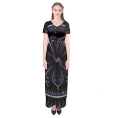 Fractal Abstract Purple Majesty Short Sleeve Maxi Dress