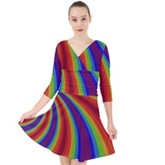 Abstract Pattern Lines Wave Quarter Sleeve Front Wrap Dress