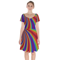 Abstract Pattern Lines Wave Short Sleeve Bardot Dress by Nexatart