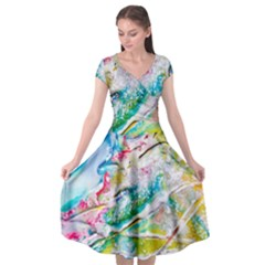 Art Abstract Abstract Art Cap Sleeve Wrap Front Dress