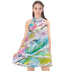 Art Abstract Abstract Art Halter Neckline Chiffon Dress  by Nexatart