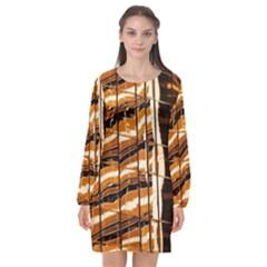 Abstract Architecture Background Long Sleeve Chiffon Shift Dress  by Nexatart