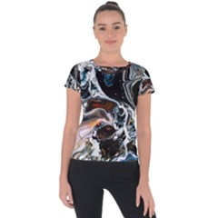 Abstract Flow River Black Short Sleeve Sports Top  by Nexatart